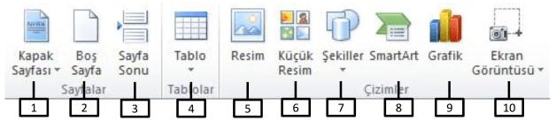 Ofis Programları Çalışma Soruları (MS Word) - Ekle Şeridi 1_1