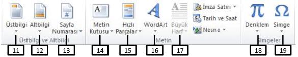 Ofis Programları Çalışma Soruları (MS Word) - Ekle Şeridi 1_2