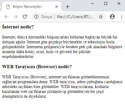 web sayfası hazırlama örneği 1 ekran çıktısı