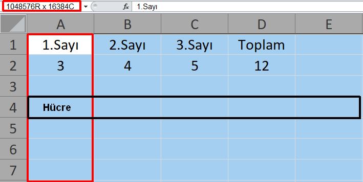 Microsoft Excel Ders Notları-1 Excel Çalışma Sayfası