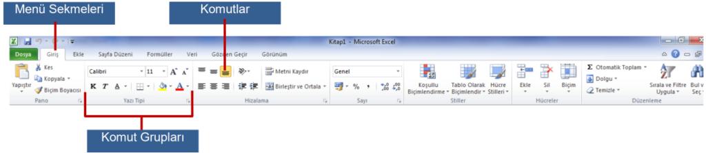 Microsoft Excel Ders Notları-1 Menü Şeridi