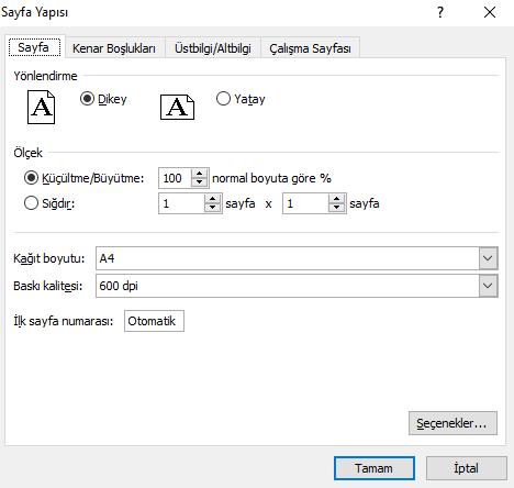 Excel Sayfa Yapısı