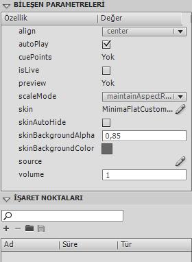 FLVPlayback Bileşeni Parametreleri