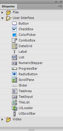 Adobe Flash Bileşenler Paneli