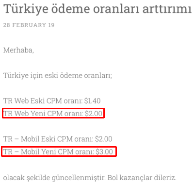 Bcvc CPM Oranları
