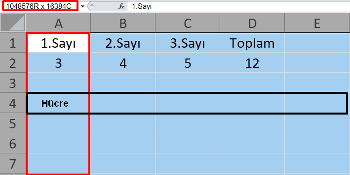Excel Çalışma Sayfası