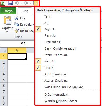 Excel Hızlı Erişim Araç Çubuğu