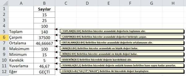 Excel Sık Kullanılan İşlevler (Fonksiyonlar)