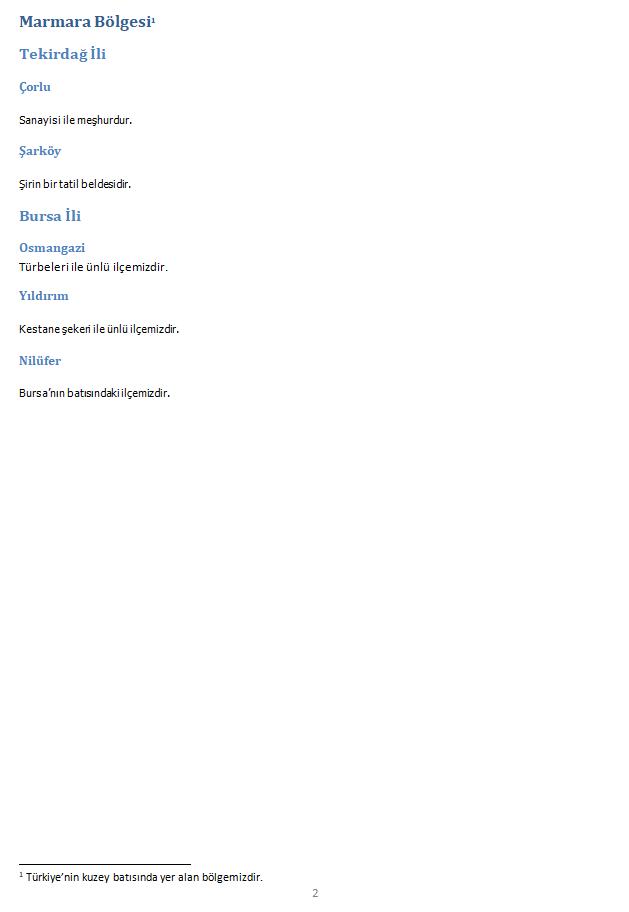 İçindekiler Tablosu ve Dipnot Uygulaması - 2